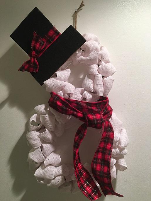 Snowman Burlap Wreath